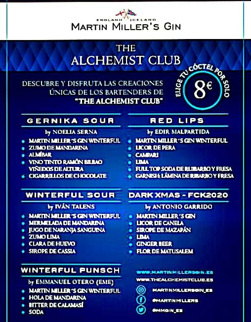 Menú Martin Miller`s Gin. The Alchemist Club